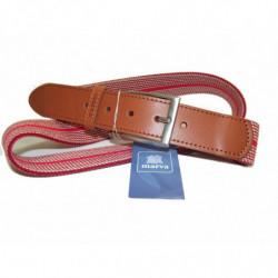 Cinturon en piel de Morgados Piel color marron con costuras y hebilla metalica rf.7111
